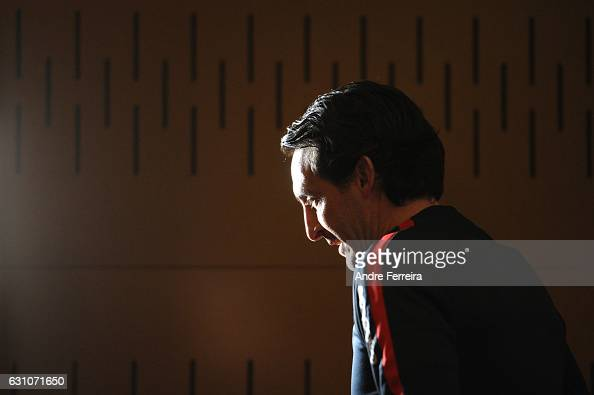 Unai Emery coach of PSG during the Press Conference of Paris Saint Germain at Camp des Loges on January 6 2017 in Saint Germain en Laye France