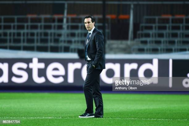 Unai Emery coach of PSG during the UEFA Champions League match between RSC Anderlecht and Paris SaintGermain at Constant Vanden Stock Stadium on...