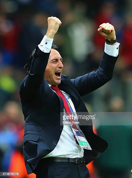 Unai Emery coach of Sevilla celebrates during the UEFA Europa League Final match between FC Dnipro Dnipropetrovsk and FC Sevilla on May 27 2015 in...