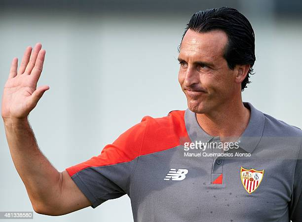 Unai Emery coach of Sevilla greets the fans before a Pre Season Friendly match between Sevilla and Alcorcon at Pinatar Arena Stadium on July 19 2015...