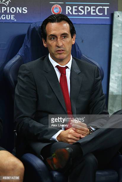 Unai Emery coach of Sevilla looks on during the UEFA Champions League Group D match between Manchester City and Sevilla at Etihad Stadium on October...