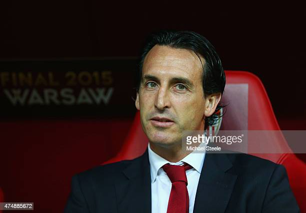 Unai Emery coach of Sevilla looks on during the UEFA Europa League Final match between FC Dnipro Dnipropetrovsk and FC Sevilla on May 27 2015 in...