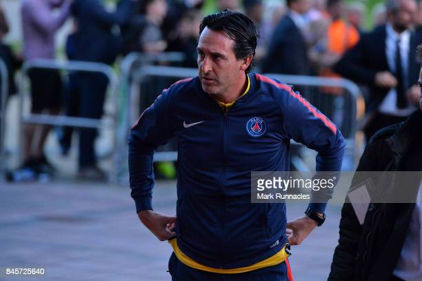 Unai Emery head coach of PSG arrives prior to a Paris SaintGermain press conference ahead of the UEFA Champions League Group B match against Celtic...