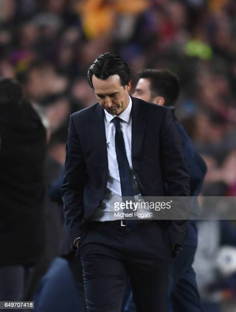 Unai Emery head coach of PSG looks dejected as Sergi Roberto of Barcelona scores their sixth goal during the UEFA Champions League Round of 16 second...