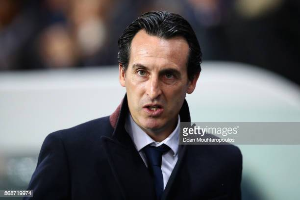 Unai Emery head coach of PSG looks on during the UEFA Champions League group B match between Paris SaintGermain and RSC Anderlecht at Parc des...