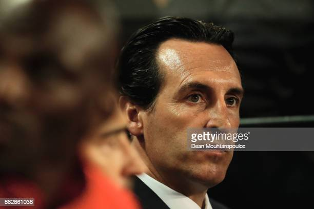 Unai Emery head coach of PSG looks on prior to the UEFA Champions League group B match between RSC Anderlecht and Paris SaintGermain at Constant...