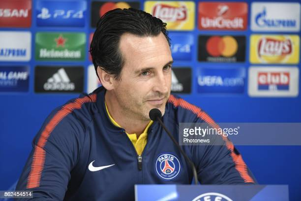 Unai Emery head coach of PSG pictured during a press conference a day before UEFA Champion League match group B between RSC Anderlecht and Paris...