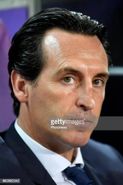 Unai Emery Head Coach of PSG pictured during the Champions League Group B match between RSC Anderlecht and Paris SaintGermain on October 18 2017 in...