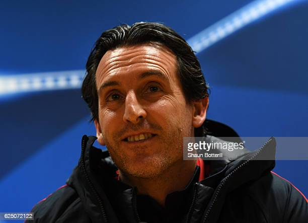 Unai Emery head coach of PSG speaks to the media during the Paris SaintGermain press conference at the Emirates Stadium on November 22 2016 in London...