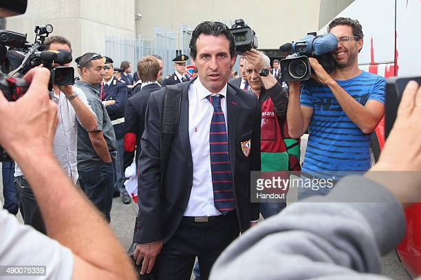 Unai Emery head coach of Sevilla arrives at the Turin airport Sandro Pertini prior to the UEFA Europa League final on May 13 2014 in Turin Italy