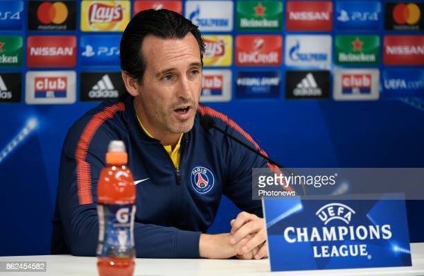 Unai Emery head coach PSG during press conference a day before UEFA Champion League match group B between RSC Anderlecht and Paris Saint Germain on...