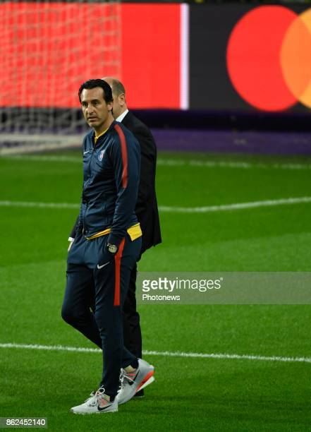 Unai Emery head coach PSG pictured during a walk on the pitch a day before UEFA Champion League match group B between RSC Anderlecht and Paris Saint...