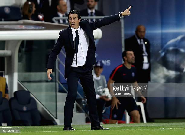Unai Emery Manager of Paris SaintGermain reacts during the UEFA Champions League Group A match between Paris SaintGermain and Arsenal FC at Parc des...