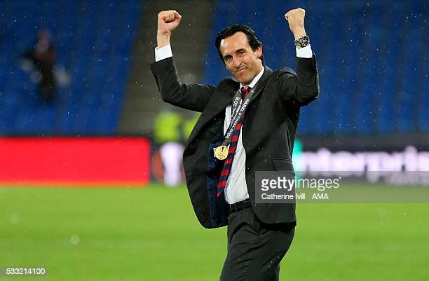 Unai Emery manager of Sevilla celebrates after the UEFA Europa League Final match between Liverpool and Sevilla at St JakobPark on May 18 2016 in...