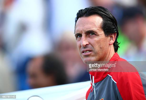 Unai Emery manager of Seville looks on ahead of the Pre Season Friendly between Brighton Hove Albion and Seville at Amex Stadium on August 2 2015 in...