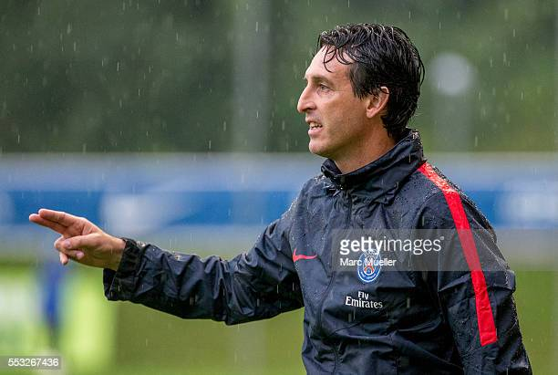 Unai Emery trainer of Paris St Germain seen during a friendly match against West Bromwich Albion on July 13 2016 in Schladming Austria