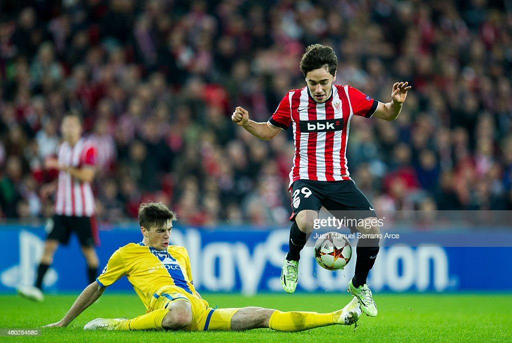 Unai Lopez of Athletic Club duels for the ball with Aleksandr Karnitski of FC BATE Borisov during the UEFA Champions League Group H match between...