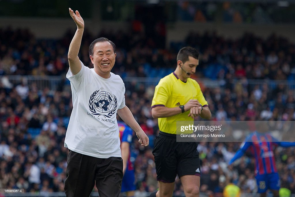 Unaited Nations Secretary-General Ban Ki Moon waves after take the honorary kick-off before the La Liga match between Real Madrid CF and Levante UD at Santiago Bernabeu Stadium on April 6, 2013 in Madrid, Spain.