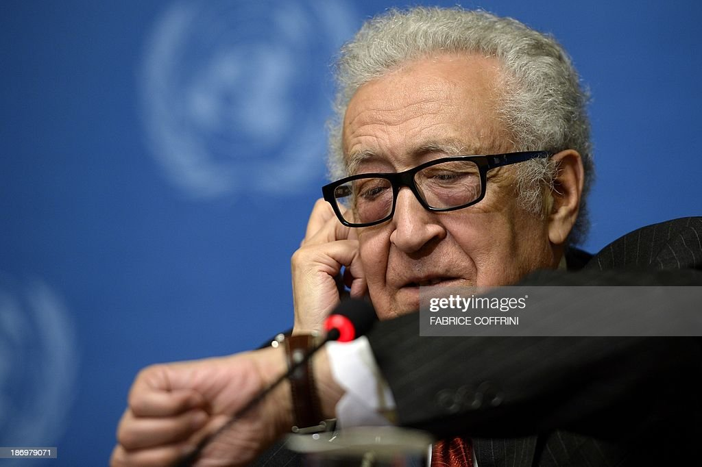 UN-Arab League envoy to Syria Lakhdar Brahimi attends a press conference on November 5, 2013 following a meeting with a range of senior diplomats at the United Nations Offfice in Geneva in a fresh push to prepare a new international conference aimed at ending the Syrian conflict. Geneva 2, a long-awaited peace conference for war-torn Syria appeared set for further delays as sharp divisions persisted between the rival camps over the conditions for their participation.