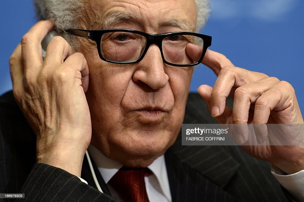 UN-Arab League envoy to Syria Lakhdar Brahimi gestures during a press conference on November 5, 2013 following a meeting with a range of senior diplomats at the United Nations Offfice in Geneva in a fresh push to prepare a new international conference aimed at ending the Syrian conflict. Geneva 2, a long-awaited peace conference for war-torn Syria appeared set for further delays as sharp divisions persisted between the rival camps over the conditions for their participation.