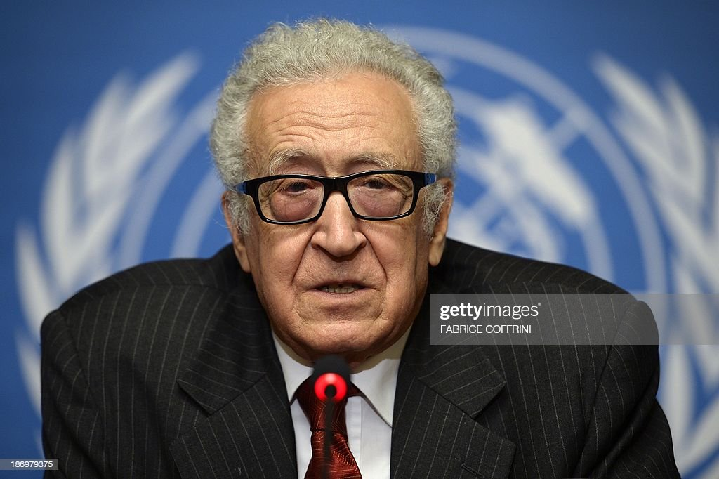 UN-Arab League envoy to Syria Lakhdar Brahimi gives a press conference on November 5, 2013 following a meeting with a range of senior diplomats at the United Nations Offfice in Geneva in a fresh push to prepare a new international conference aimed at ending the Syrian conflict. Geneva 2, a long-awaited peace conference for war-torn Syria appeared set for further delays as sharp divisions persisted between the rival camps over the conditions for their participation.