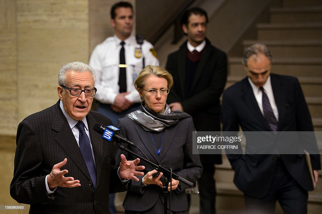 UN-Arab League peace envoy Lakhdar Brahimi (L) gestures during a stakeout following a meeting with top US and Russian officials on the Syrian conflict on January 11, 2013 at the United Nations office in Geneva. Brahimi had a meeting with Russian Deputy Foreign Minister Mikhail Bogdanov and US Undersecretary of State William Burns for discuss ways of ending the 21-month conflict in Syria.