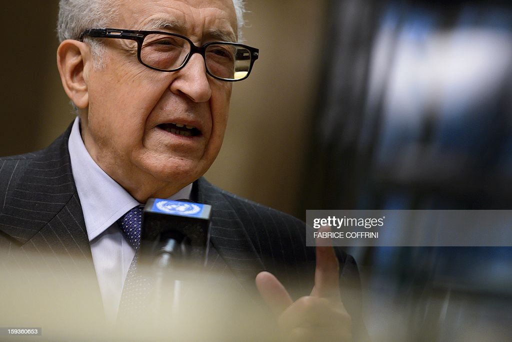 UN-Arab League peace envoy Lakhdar Brahimi gestures on January 11, 2013 during a stakeout following a meeting with top US and Russian officials on the Syrian conflict at the United Nations office in Geneva. Brahimi held a meeting with Russian Deputy Foreign Minister Mikhail Bogdanov and US Undersecretary of State William Burns aimed at discussing ways of ending the 21-month conflict in Syria. AFP PHOTO / FABRICE COFFRINI