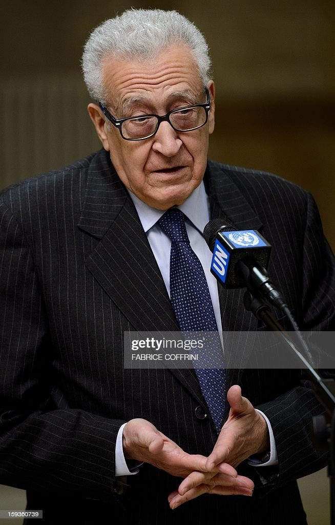 UN-Arab League peace envoy Lakhdar Brahimi gestures on January 11, 2013 during a stakeout following a meeting with top US and Russian officials on the Syrian conflict at the United Nations office in Geneva. Brahimi held a meeting with Russian Deputy Foreign Minister Mikhail Bogdanov and US Undersecretary of State William Burns aimed at discussing ways of ending the 21-month conflict in Syria.