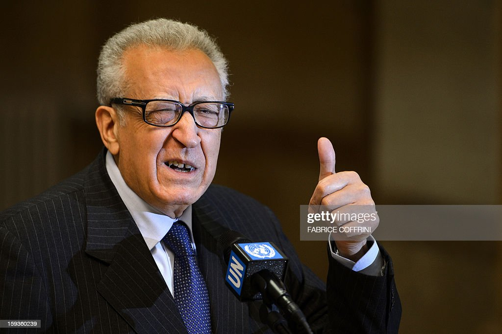 UN-Arab League peace envoy Lakhdar Brahimi gives a thumbs up during a stake-out following a meeting with top US and Russian officials on the Syrian conflict on January 11, 2013 at the United Nations office in Geneva. Brahimi held talks with Russian Deputy Foreign Minister Mikhail Bogdanov and US Undersecretary of State William Burns aimed at discussing ways of ending the 21-month conflict in Syria.