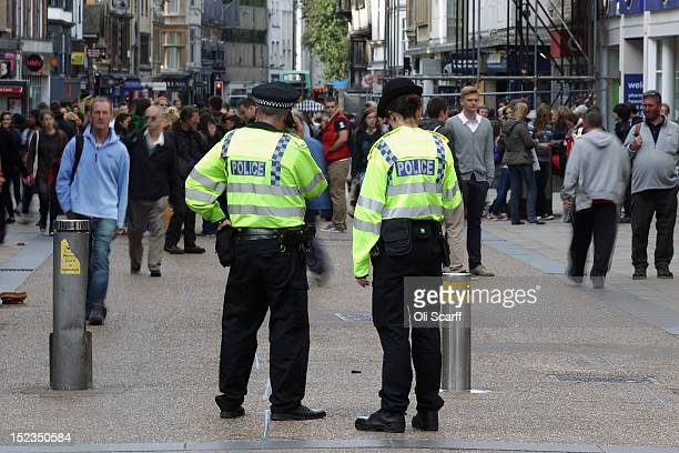 Unarmed police officers patrol the pedestrianised section of Oxford city centre on September 19 2012 in Oxford England Manchester resident Dale...