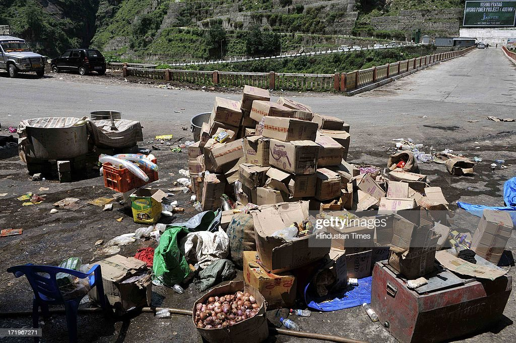 GHAT, INDIA - Unattended relief food materials lying beside road at Govind Ghat on June 30 2013 in Uttarakhand, India.