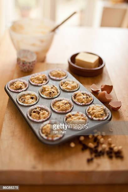 Unbaked muffins in a domestic kitchen