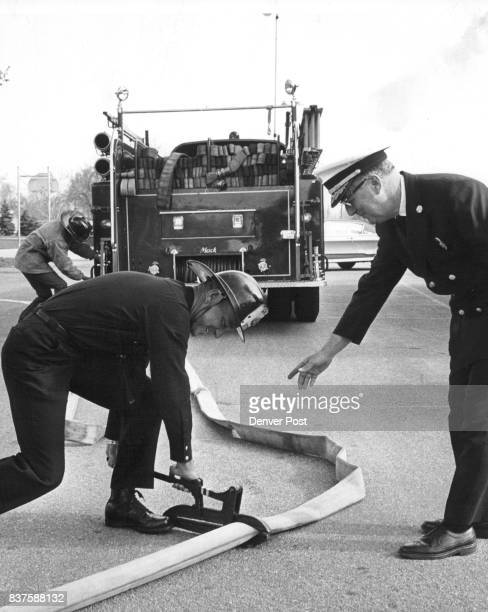 Uncaredfor fire hose can be useless Here Capt F Sweat puts a clamp on this hose to check for leaks while William Hawkins fire chief watches Credit...
