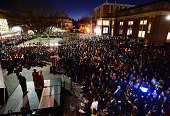 UNCChapel Hill Chancellor Carol Folt speaks to hundreds of mourners gathered in on the UNC campus in Chapel Hill NC Wednesday Feb 11 2015 A vigil...