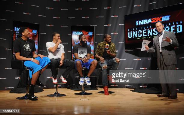 NBA 2K15 Uncensored featured NBA stars Kevin Durant James Harden Stephen Curry Anthony Davis and Ernie Johnson attend a roundtable discussion at...