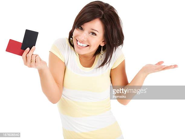 Uncertain Young Woman with Blank Credit Cards