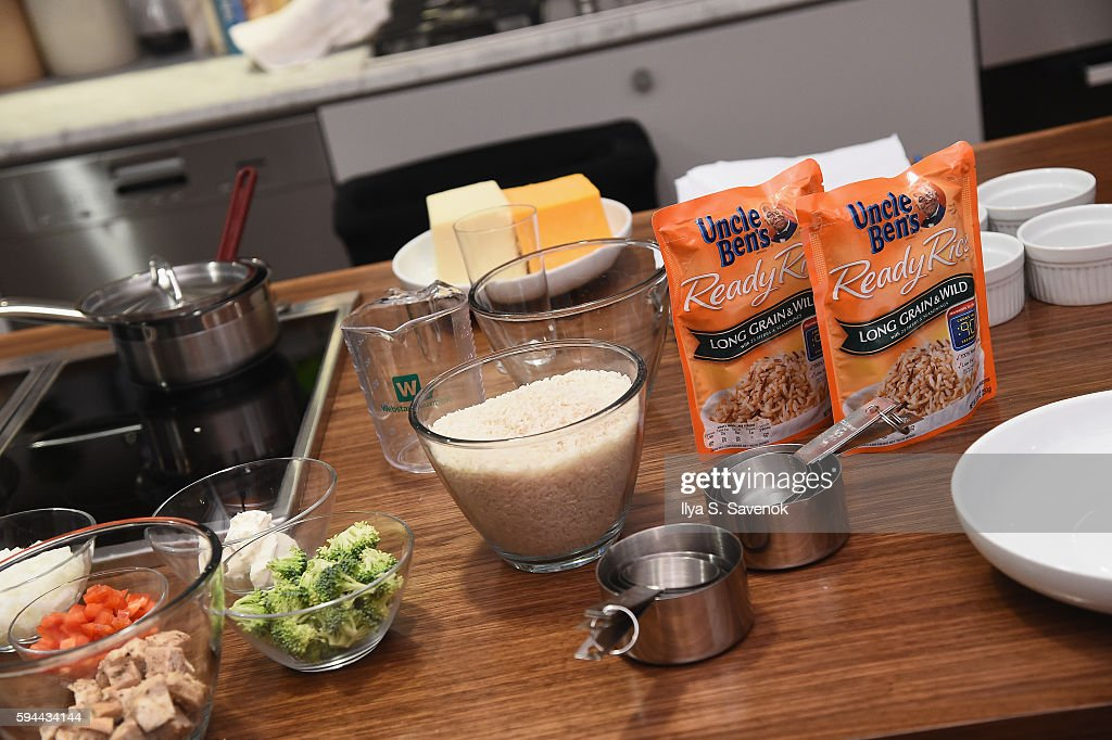 Uncle Ben's Ready Rice is seen during Ben's Beginners Cooking Contest Launch Event Back to the Future Of Cooking at Home Studios on August 23 2016 in...