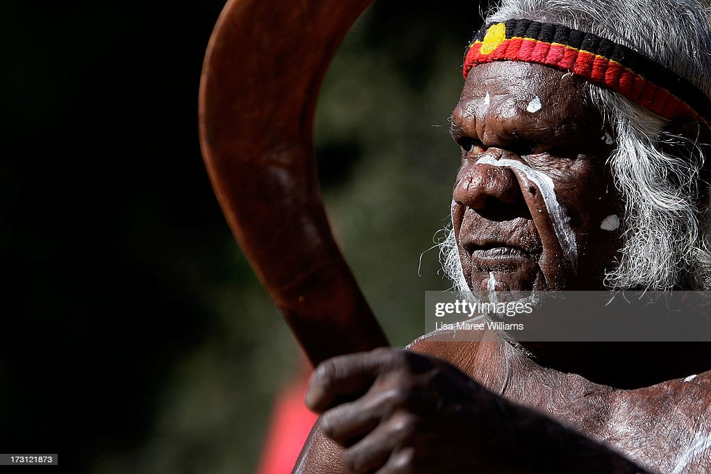 Uncle Max Eulo entertains a large crowd during a public NAIDOC celebration at Hyde Park on July 8, 2013 in Sydney, Australia. NAIDOC is a celebration of Aboriginal and Torres Strait Islander cultures and an opportunity to recognise the contributions of Indigenous Australians.