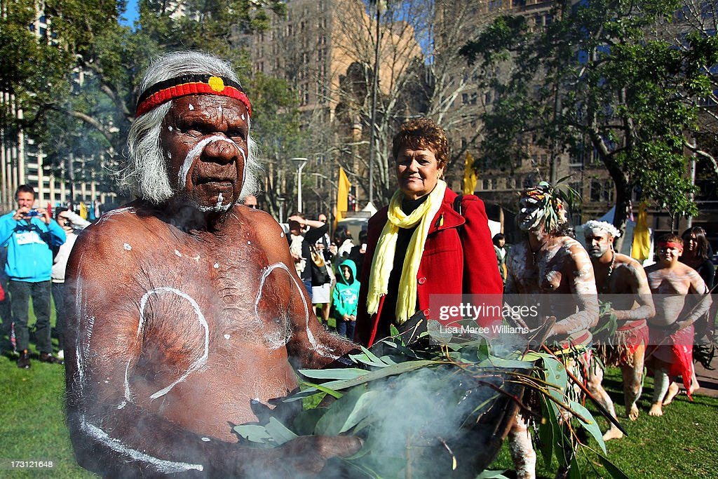 Uncle Max Eulo performs a traditional smoking ceremony during a public NAIDOC celebration at Hyde Park on July 8, 2013 in Sydney, Australia. NAIDOC is a celebration of Aboriginal and Torres Strait Islander cultures and an opportunity to recognise the contributions of Indigenous Australians.