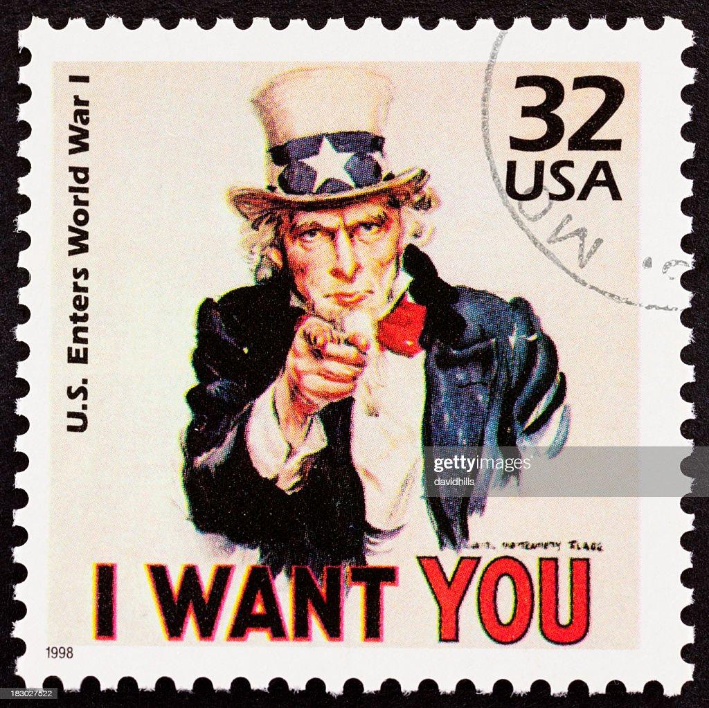 Uncle Sam on USA postage stamp XXXL