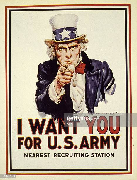 'Uncle Sam' points an accusing finger of moral responsibility in a recruitment poster for the American forces during World War I