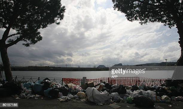 Uncollected rubbish sits near Averno lake and Lucrino a little village inside Campi Flegrei a Campania region tourist attraction near Naples on March...