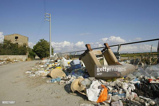 DOLMADJIAN Uncollected rubbish sits on the streets of Marigliano about 25 kilometers east of Naples on Septembre 2008 Acerra Nano and Marigliano had...