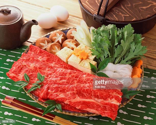 Uncooked beef for sukiyaki