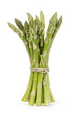 uncooked green asparagus tied with twine, isolated on white