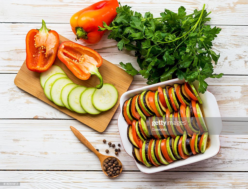 Uncooked homemade French ratatouille. Healthy food concept. : Stock Photo