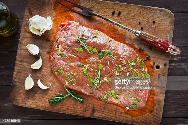 Uncooked Marinated Flank Steak