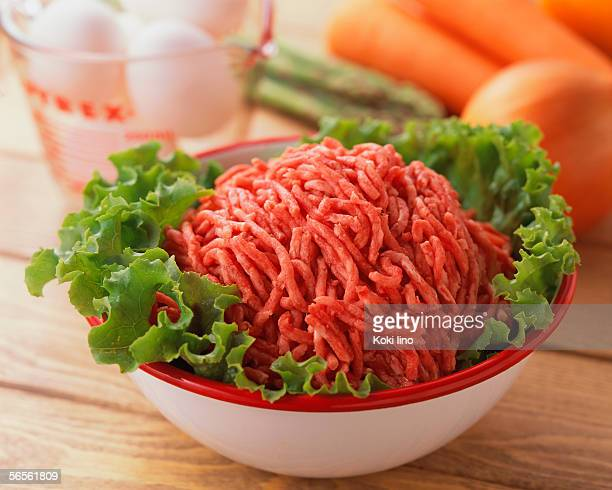 Uncooked minced beef in a bowl
