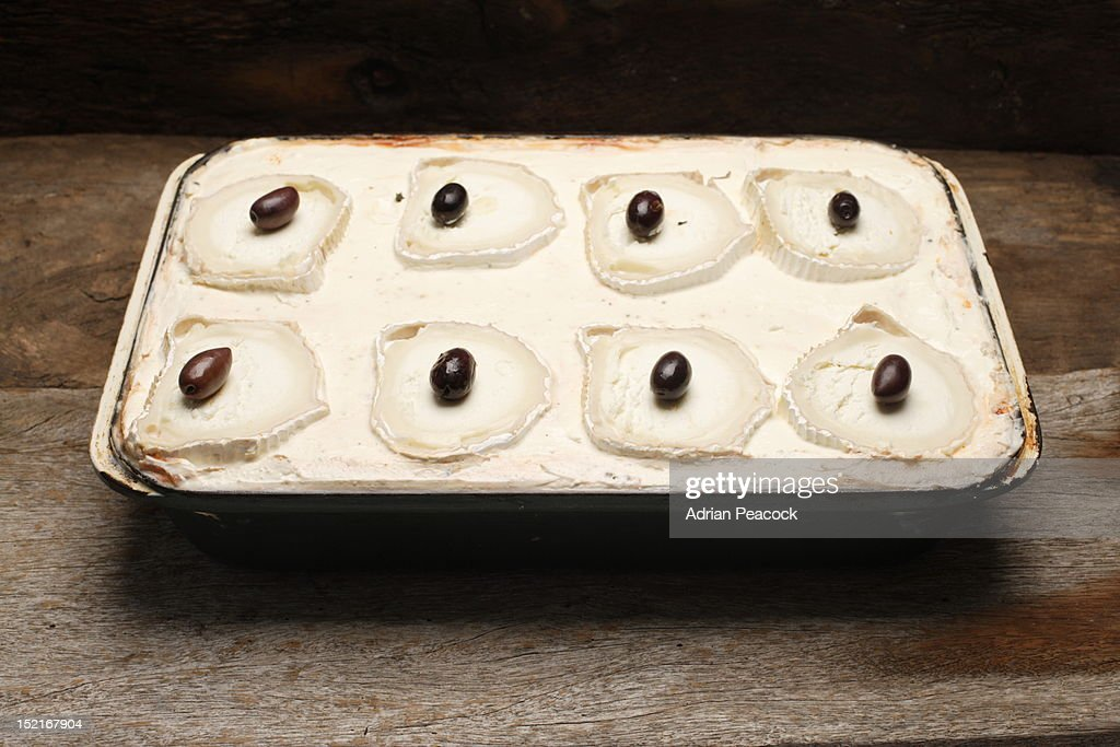 uncooked Puy lentil, aubergine and red wine moussa : Stock Photo
