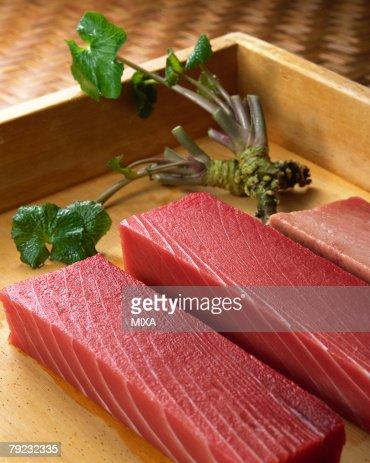 Uncooked tuna and wasabi : Stock Photo